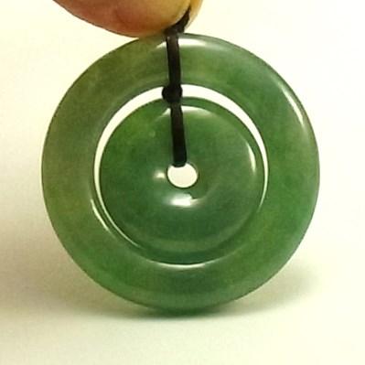 画像1: 翡翠ペンダントトップ(玉璧&環)