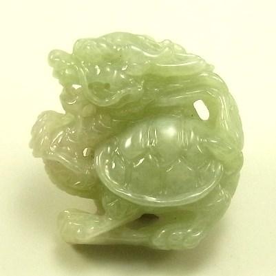 画像1: 翡翠ペンダントトップ(龍亀)